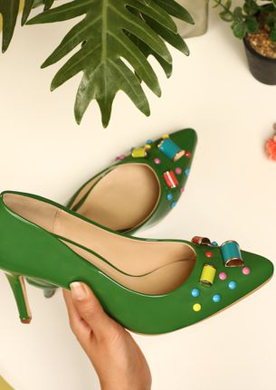 GEMS AND CANDIES GREEN HEELED SANDALS