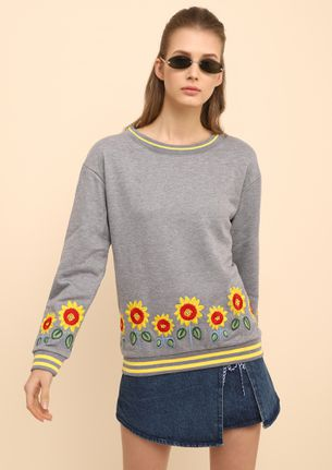 MY FIELD OF SUNFLOWERS GREY SWEATSHIRT