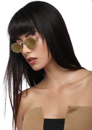 SHAPE IT UP BROWN ROUND SUNGLASSES