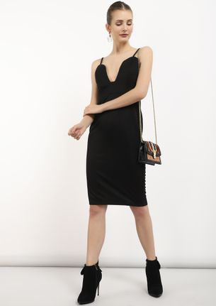 PRETTY ME BLACK MIDI DRESS