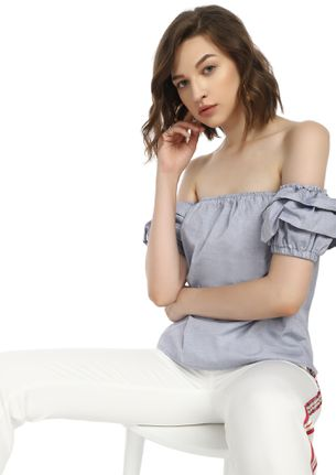SUN KISSED LIGHT GREY OFF-SHOULDER TOP