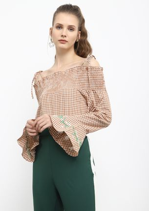 ALL GOOD THINGS FOR ME KHAKI OFF-SHOULDER TOP