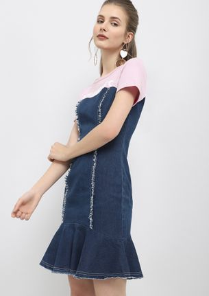 MY ONE AND DONE PURPLE BLUE DENIM DRESS