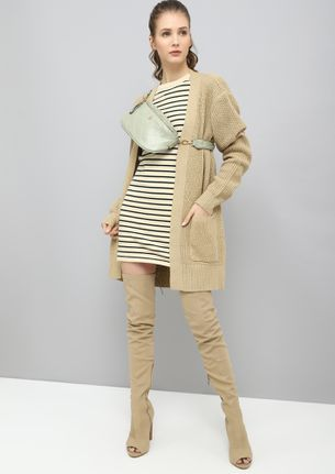 COLD DOESN'T BOTHER ME GREEN STRIPED LONGLINE JUMPER