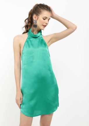 IN ALL MY FINISH GREEN SHIFT DRESS