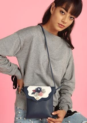 YOU FLOWER ME NAVY SLING BAG