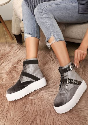HAS IT CHUNK GREY ANKLE BOOTS