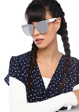 YOU KEEP ME BUSY SILVER CAT-EYE SUNGLASSES