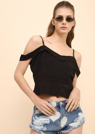 HEY THERE SHORTY BLACK CAMI TOP