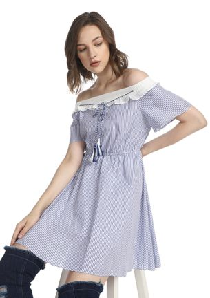 CATCHING HAPPY VIBES BLUE OFF-SHOULDER DRESS