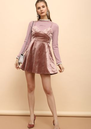 SUCH A FINISH PINK SKATER DRESS