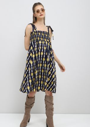 FINDING COMFORT IN CHAOS BLUE SHIFT DRESS