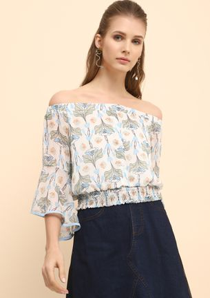 FLORAL BOUQUET BLUE OFF-SHOULDER TOP