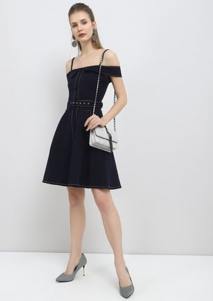 IN A GOOD MOOD NAVY BLUE SKATER DRESS