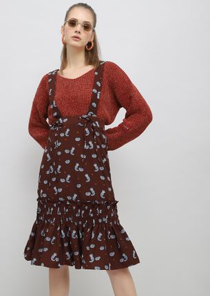THOSE FOXY EYES BROWN PINAFORE SKIRT