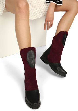 WAITING FOR HALLOWEEN'S WINE MID-CALF BOOTS