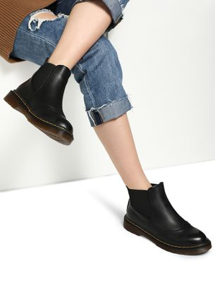 QUITE A BUSY LIFE BLACK PATENT ANKLE BOOTS