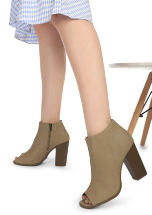 PLAYING PEEK-A-BOO BEIGE ANKLE BOOTS