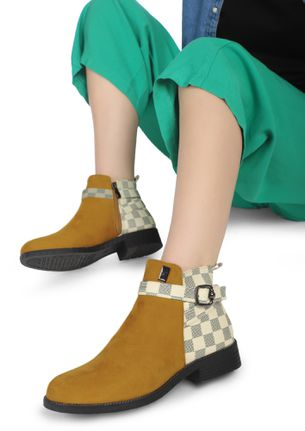 FOR THE THRILL OF IT YELLOW ANKLE BOOTS