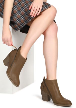 DECEIVING THOUGHTS BROWN ANKLE BOOTS