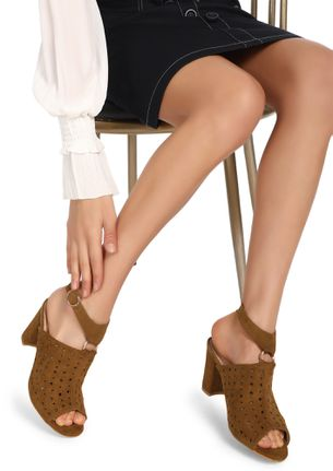 PERFORATION AND PERFECTION CAMEL BROWN PEEP-TOE HEELS