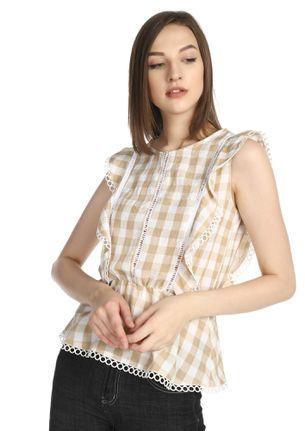 GOING BACK TO BASIC BEIGE GINGHAM TOP