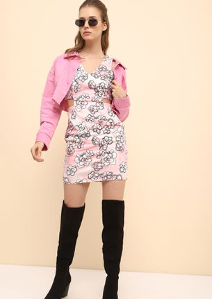 CUTTING THROUGH THE CHASE PINK TUNIC DRESS