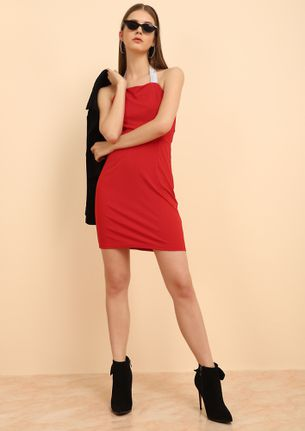 HALTING MY PACE RED BODYCON DRESS