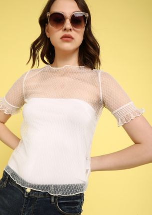 MY HEART IN A MESH TOP