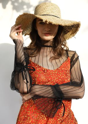 BE MY ANCHORE BROWN STRAW HAT