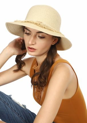 PALM DOWN BABE BEIGE STRAW HAT