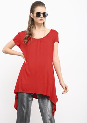 ALONG THE WAVES RED ASYMMETRICAL TUNIC TOP