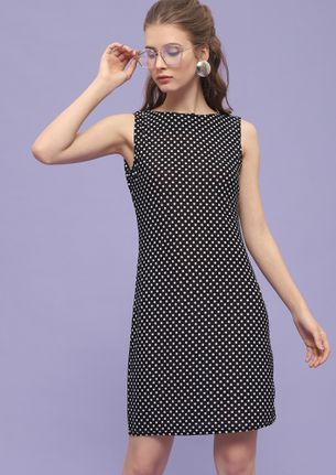 DOTTY NAUGHTY BLACK SHIFT DRESS