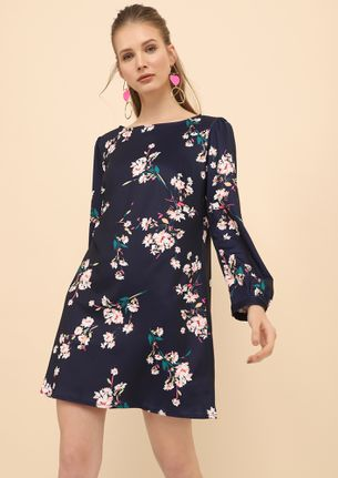 GOING FLOWER MINDED NAVY SHIFT DRESS