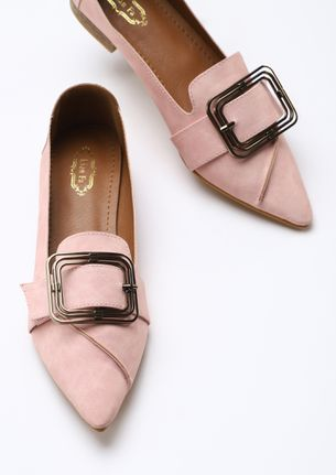 BUCKLE UP THE THOUGHTS PINK FLAT SHOES
