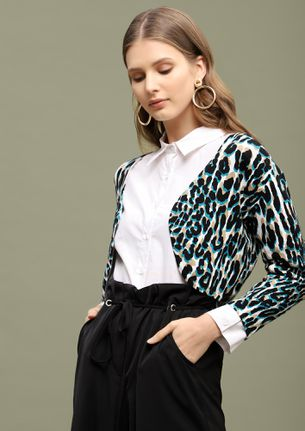 RUN LIKE A LEOPARD BLUE CROPPED SHRUG