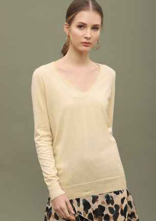 CAN YOU RIB-PEAT BEIGE RIBBED T-SHIRT