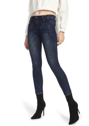 SOMEWHAT SPECKLED DEEP BLUE SLIM-FIT JEANS