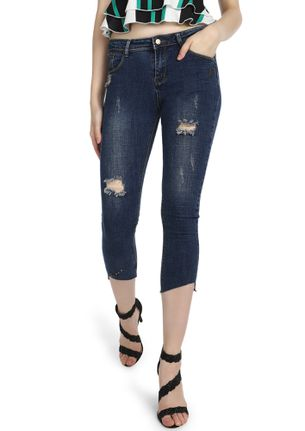 NEVER COMPROMISE BLUE CROPPED JEANS
