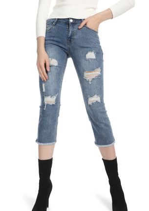 BOTTOMS UP LIGHT BLUE CROPPED DENIMS