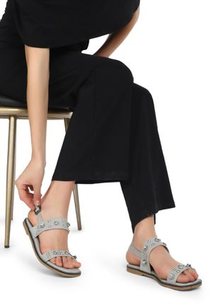 IT'S YOUR TURN GREY FLAT SANDALS