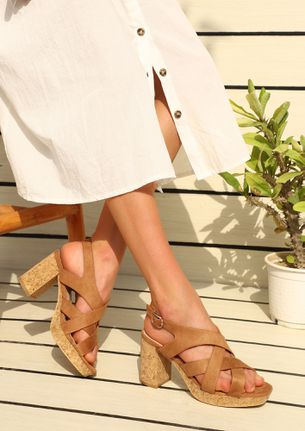 JUST ABOUT YOU BROWN HEELED SANDALS