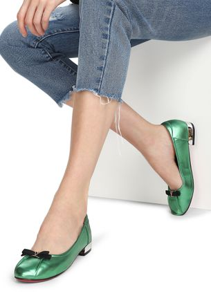DON'T LEAVE ME ALONE GREEN BALLET FLAT