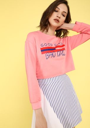 LINES BETWEEN GOOD AND BAD PINK CROP TOP