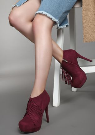 AGAINST THE WIND MAROON ANKLE BOOTS