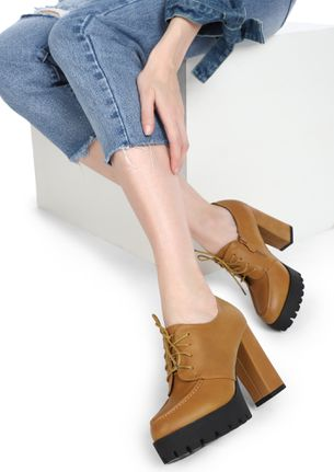 SEE YOU IN OFFICE TAN HEELED SHOES