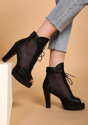 IN A HAPPY MOOD BLACK HEELED SHOES