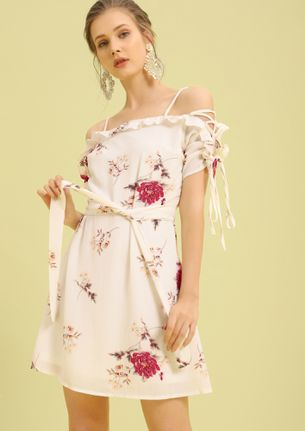 SWEET ESCAPE WHITE FLORAL WRAP SKATER DRESS