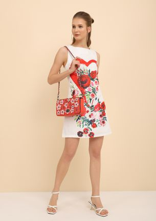 GARDEN OF ROSES WHITE SHIFT DRESS