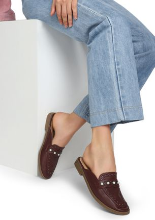 KILLING IT WITH STYLE MAROON MULE LOAFERS